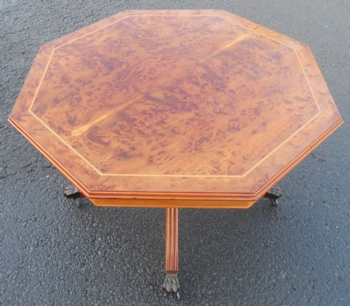 Burr Elm Octagonal Top Pedestal Coffee Table